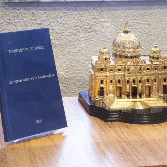 Present book of Constitutions and Rules printed in 2009.  St Peter's Basilica in Rome. Presence of the Institute from 1925 to 1989